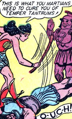 Wonder Woman spanking a man in Roman soldier uniform