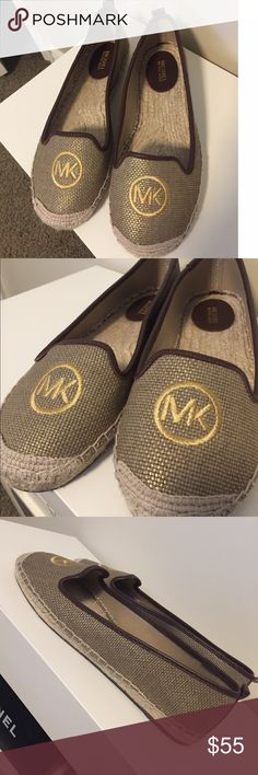 Michael Kors Logo Espadrilles These are the cutest espadrilles! They are brand new, never been worn! Size 8 and fit true to size! They are made By Michael Kors and feature a gold MK logo at the front! These are comfy and so easy to throw on! Love these!  They are tan with a slight gold sheen to them and feature brown leather detailing! MICHAEL Michael Kors Shoes Espadrilles