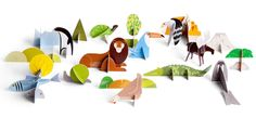 The Totem Lion is a book full of animals puzzles. Pop out the cardboard pieces and make all of the animals along with the sceneries. Cardboard Animals, Paper Animals, Le Totem, Paper Art, Paper Crafts, Cardboard Crafts, Fun Crafts, Origami, Lion Design