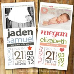 Newborn Stats Birth Announcement, Size 4x8 - PRINTABLE file - Fully Customizable - Matching Nursery Print Available. $8.95, via Etsy.