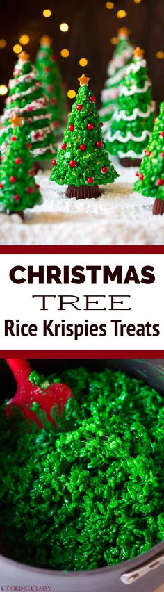Christmas Tree Rice Krispies Treats - just as much fun to make as they are delicious to eat! Everyone loves these! #christmas #ricekrispies #treat #christmastree #dessert