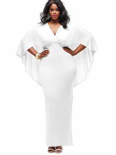 white cape dress plus size - Google Search