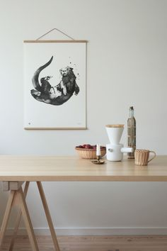 The playful Otter wall art print brings joy to your interiors, summer cottage or children's rooms. Printed on high-quality FSC paper. Large Art Prints, Wall Art Prints, Wood Poster Frames, White Paper, Sustainable Design, Otters, Scandinavian Design, Finland, Otter