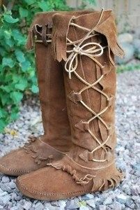 Vtg Tall Taos Moccasin Boots Hippie Lace Up Leather 9 06 28 2009