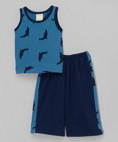 Indigo & Navy Dolphin Organic Tank & Pants - Infant & Toddler by Kids Organic #zulily #zulilyfinds