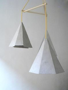 "Paper mache pendant lamps ""Crystals II"", paper pulp hanging lamps, paper lamp shade, modern, eco-friendly, paper lamp,"