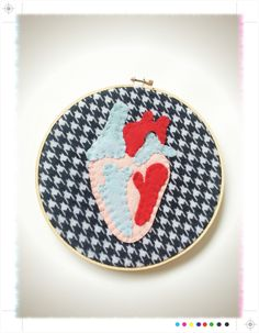 Houndstooth Heart: 100% hand stitched anatomical heart embroidery hoop wall art // creepy cute felt anatomy art by HelloKreepy on Etsy https://www.etsy.com/listing/213449287/houndstooth-heart-100-hand-stitched