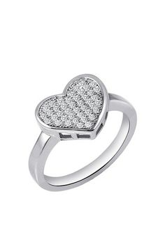 Rhodium Over Sterling Silver Micro Pave Simulated Diamond Heart Ring by Lafonn on @HauteLook