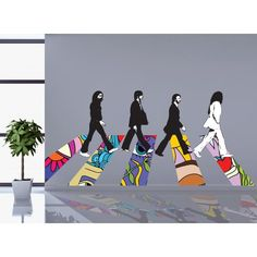 Adesivi da parete Beatles Walking Abbey Road Hippie Adesivo da parete Vinyl Wall Stickers Decals