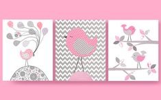 Grey and Pink Birds, Bird Nursery, Pink Birds, Girl Nursery Art, 8 x 10, Cute Bird Art