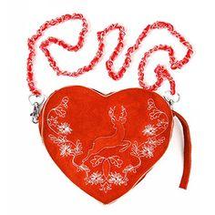 6ade3ae73b157 Almbock Trachten-Tasche Gerti Herz in rot - rote Dirndl-Tasche