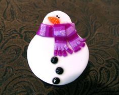 Hey, I found this really awesome Etsy listing at https://www.etsy.com/listing/112496577/snowman-pin-with-purple-striped-scarf