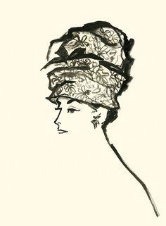 Balenciaga Hat by Jane Bixby Fashion Prints, Fashion Art, Vintage Fashion, Fashion Illustration Vintage, Illustration Art, Christian Dior, Balenciaga, Painted Hats, Fashion Design Sketches