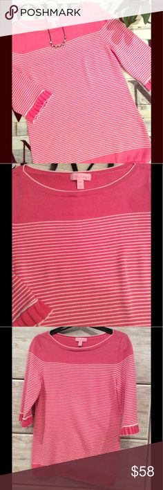 Lilly Pulitzer Pink Striped Sweater Lilly Pulitzer striped pink sweater with bell short sleeves! Very cute! I am typically a small and medium was a good fit for me. Minor pilling on sides, other than that no other flaws noted. Only worn a few times. Offers welcome! Lilly Pulitzer Sweaters Crew & Scoop Necks