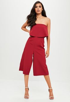 Missguided - Burgundy Crepe Double Layer Culotte Jumpsuit
