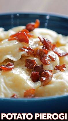 Pierogi Recipe Pierogi filled with cheesy potatoes and served with crisp bacon, melted butter and sour cream. Homemade Pierogi is the ultimate comfort food! Ukrainian Recipes, Russian Recipes, Kitchen Recipes, Cooking Recipes, Pasta Recipes, Chicken Recipes, Recipes Dinner, Soup Recipes, Pierogies Homemade