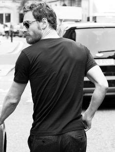 Michael Fassbender; the beard, tiny quiff, back and butt + sunglasses = heart problems for me