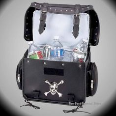 Motorcycle Bike Trunk Cooler Bag with Skull and Crossbones Medallion and Studs #DiamondPlate