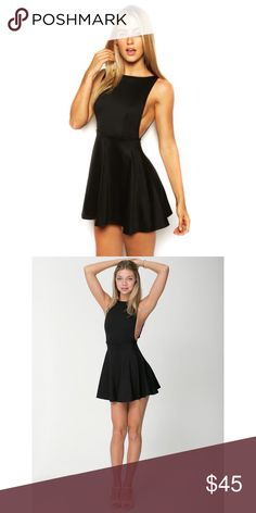 """American Apparel Ponte Sleeveless Dress in Black A simple A-line dress featuring a deep pointed scoop back, a fitted waistline and a full, shirred skirt. Medium is approximately 29 1/2"""" (74.93cm) in total length. Form-fitting. Never worn, tags attached. ❌ No Trades ❌ American Apparel Dresses Backless"""