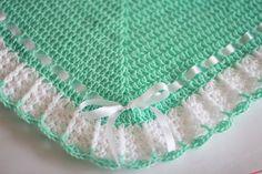 Crochet Baby Blanket / Afghan White Mint , Christening, Baptism, Baby Shower Gift