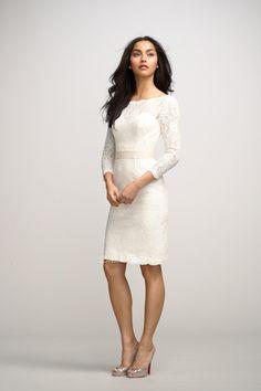new white lace boat neck three quarter sleeve sheath short deep v-back bridesmaid dress