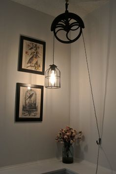 Upcycled Industrial/Vintage Well Pulley Hanging Pendant Cage Light via Etsy