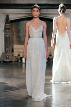 inbal dror bridal fall winter 2015 gown 17 sleeveless sheath wedding dress sequin bodice sheer over skirt