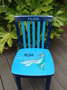 Frozen Elsa chair. Hand painted for kiddo 4 and older. Main colors are dark blue, light blue and silver.
