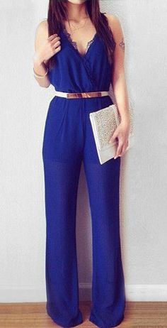Pleated Surplice Jumpsuit - Royal Blue