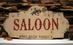 SALOON, BAR, pool, cards, whiskey, cowboy, western, vintage inspired, shabby chippy sign Great for Fathers Day via Etsy