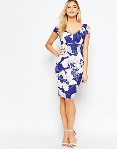 Image 4 of Paper Dolls Cold Shoulder Pencil Dress In Floral Print