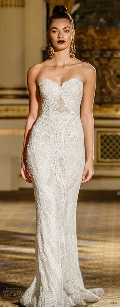 berta spring 2018 bridal strapless sweetheart neckline full embellishment elegant fit and flare wedding dress short train (05) mv -- Berta Spring 2018 Wedding Dresses