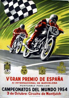 3a7e4e1b4a2 Motorcycle race poster Gran Premio España Montjuich 1954 Spanish Grand  Prix, Bike Poster, Old