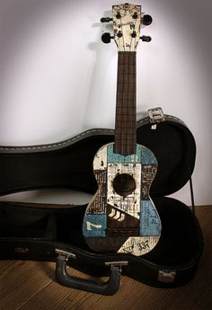 Altered Ukulele Made for NAMTA using Decoart Media Fluid Acrylic paint, Industrial Elements stencil, Industrial and Steampunk Stampendous stamps ‪ ‪ Ukulele Art, Ukulele Chords, Guitar Art, Music Guitar, Playing Guitar, Guitar Tips, Banjo, Guitar Lessons, Music Pics