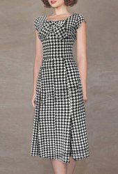 Graceful Scoop Collar Cap Sleeve Houndstooth Bowknot Embellished Dress For Women