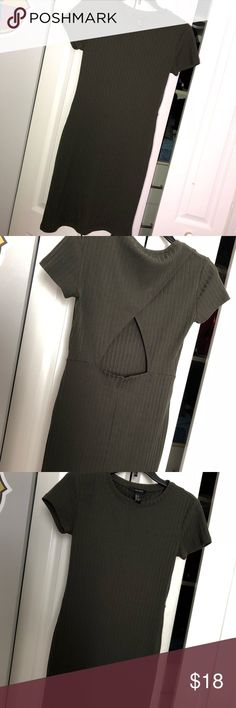 F21 Olive Green Dress! Ribbed T-shirt dress style but is form fitting not baggy Has an open triangle in the back Worn once! Love this dress and the way it fits! Forever 21 Dresses