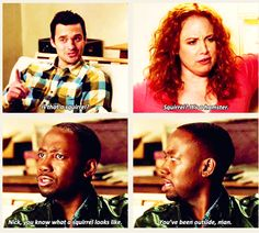 New Girl - Winston & Nick New Girl Memes, New Girl Funny, New Girl Quotes, Movies Showing, Movies And Tv Shows, New Girl Tv Show, Jessica Day, Nick Miller, Book People