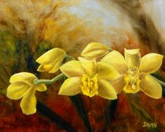 DPW Fine Art Friendly Auctions - Yellow Orchids by Dalan Wells