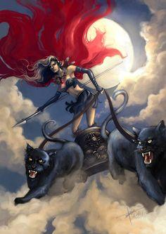10º Hel: Hel é a deusa da morte. De seu salão,Eljudnir, ela reina sobre os que morreram por doenças, velhice ou pena capital. Seu palácio chama-se Elvidner, sua mesa era a Fome, sua faca, a Inaniç…