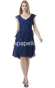 Adrianna Papell Navy V Neck Short Tierred Flutter Dress - adriannapapelldress.com