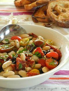Salade de haricots tarbais (tomates cerises, tomates confites, olives noires, chorizo, oignons)
