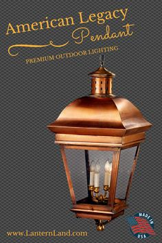 American Legacy Pendant: Premium outdoor copper lighting 100% handmade in the USA from solid copper and brass. Why settle for big box store cookie cutter #lighting for your one-of-a-kind house? Choose from a wide variety of finish, glass and fixture styles to create a light fixture that is as unique as your home.