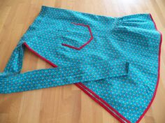 Fabulous Turquoise 1960 Cotton Print  Apron by mainelyvintagestuff