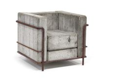 """This Le Corbusier inspired concrete armchair was designed by architect Stefan Zwicky. It was constructed out of concrete """"cushions"""" with a metal rebar frame. It was obviously meant for outdoor seating. Beton Design, Concrete Design, Concrete Furniture, Modern Furniture, Furniture Design, Outdoor Furniture, Furniture Ideas, Street Furniture, Interior Architecture"""