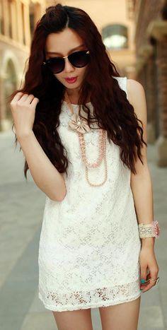 White Lace Mini Tank Dress