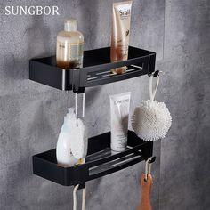 Goedkope Rvs 304 Zwart badkamer hoekplank douche rack voor lichaam ...