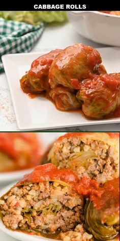 Easy to make ahead of time, this cabbage rolls recipe is a comfort food favorite in our family. The meat and rice cooks to perfection inside of the cabbage leaves, and the tomato sauce adds a delicious hint of sweetness. Best Cabbage Rolls Recipe, Easy Cabbage Rolls, Cabbage Roll Sauce, Cooked Cabbage Recipes, Baked Cabbage, Cheesy Recipes, Mexican Food Recipes, Dinner Recipes, Holiday Recipes
