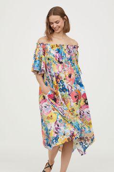 Off-the-shoulder dress - Multicoloured/Floral - Ladies   H&M 1