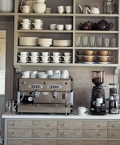 Open shelving in a home coffee bar. This would help really make the coffee bar feel like a distinctly different area of the kitchen. Could also work well in a butlers pantry / coffee bar area. Cocina Martha Stewart, Grey Kitchens, Home Kitchens, New Kitchen, Kitchen Decor, Kitchen Shelves, Kitchen Storage, Kitchen Cabinets, Kitchen Colors