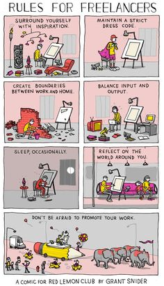 Rules For Freelancers, A Witty Comic Showing How to Be a Victorious Freelance Artist